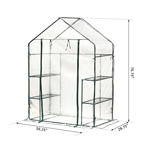 MRT-SUPPLY-4-Shelves-Outdoor-Portable-Walk-In-Greenhouse-Plant-Flower-Gardening-wClear-PE-Cover-with-Ebook-0-1