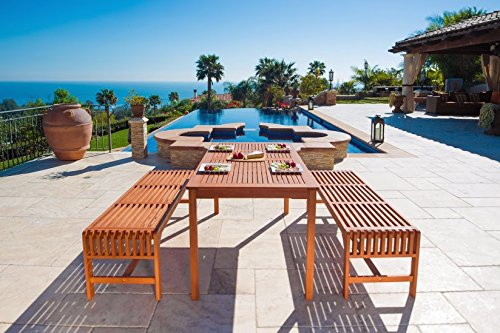 Malibu-V98SET5-Eco-Friendly-3-Piece-Wood-Outdoor-Dining-Set-with-Backless-Benches-0-0