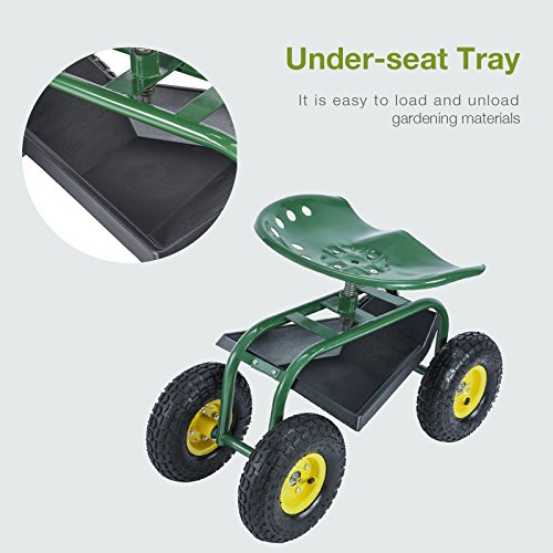 Mecor-Garden-Cart-Rolling-Work-Seat-with-Heavy-Duty-Tool-Tray-Gardening-Planting-Cart-330Ibs-Green-0-1