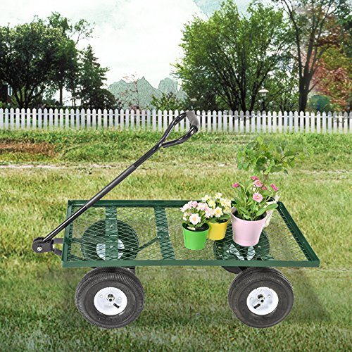 Mecor-Yard-Wagon-Cart-Garden-Utility-Lawn-Heavy-Duty-Steel-Cart-with-WheelsFlat-Free-Tires-660lbs-Multifunctional-Pulling-Wagon-0-0