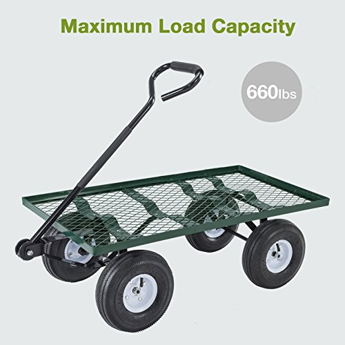 Mecor-Yard-Wagon-Cart-Garden-Utility-Lawn-Heavy-Duty-Steel-Cart-with-WheelsFlat-Free-Tires-660lbs-Multifunctional-Pulling-Wagon-0-1