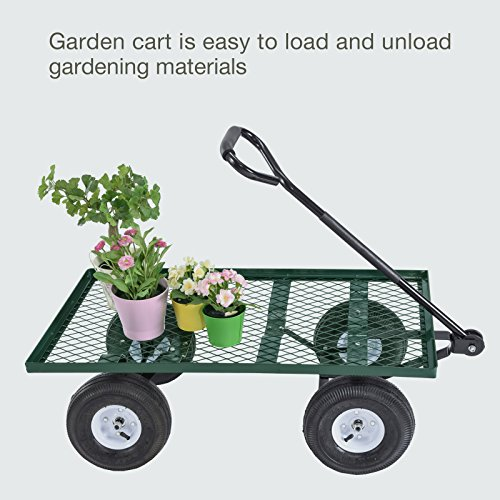 Mecor-Yard-Wagon-Cart-Garden-Utility-Lawn-Heavy-Duty-Steel-Cart-with-WheelsFlat-Free-Tires-660lbs-Multifunctional-Pulling-Wagon-0-2