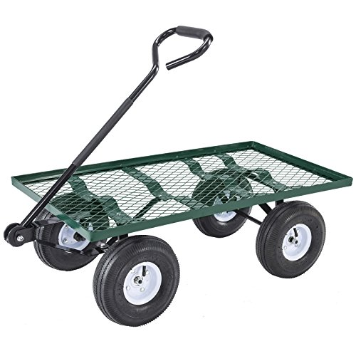 Mecor-Yard-Wagon-Cart-Garden-Utility-Lawn-Heavy-Duty-Steel-Cart-with-WheelsFlat-Free-Tires-660lbs-Multifunctional-Pulling-Wagon-0