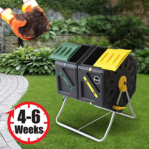 Miracle-Gro-Dual-Chamber-Compost-Tumbler–Outdoor-Bin-with-Easy-Turn-System-2-Sliding-Doors-Sturdy-Steel-Frame–All-Season-Composter-BPA-Free-FREE-Scotts-Gardening-Gloves-2-X-185gal70L-0-2
