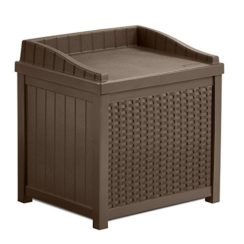 Most-Elegant-Inexpensive-Weather-Proof-Decorative-Mocha-Brown-22-Gallon-Resin-Storage-Deck-Box-Love-Seat-With-Decorative-Woven-Design-Deep-Storage-Organizational-Area-For-Easy-Clean-Up-Lightweight-0