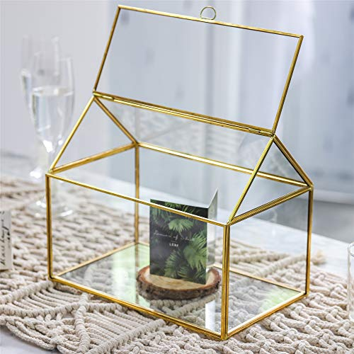 NCYP-Large-Inches-Geometric-Glass-Card-Box-Organizer-Terrarium-Centerpiece-Decor-Tabletop-Planter-Handmade-Copper-House-Shape-Window-Flower-Pot-for-Plants-Succulents-102-X-83-X-63–0-2
