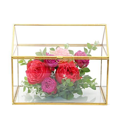 NCYP-Large-Inches-Geometric-Glass-Card-Box-Organizer-Terrarium-Centerpiece-Decor-Tabletop-Planter-Handmade-Copper-House-Shape-Window-Flower-Pot-for-Plants-Succulents-102-X-83-X-63–0