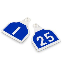 Nasco-CAL-TAG-Cow-Tag-Numbers-on-1-Side-4-L-x-3-14-W-Pkg-of-25-Numbers-1-25-Dutch-Blue-Over-White-Base-C34501AN-0