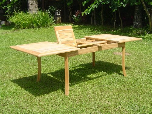 New-7-Pc-Luxurious-Grade-A-Teak-Dining-Set-94-Double-Extension-Rectangle-Table-6-Giva-Chairs-4-Armless-2-Arm-Captain-0-0