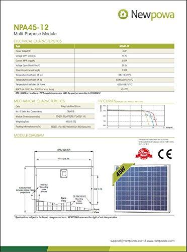 Newpowa-High-efficiency-45W-12V-Poly-Solar-Panel-Module-RV-Marine-Boat-Off-Grid-0-0