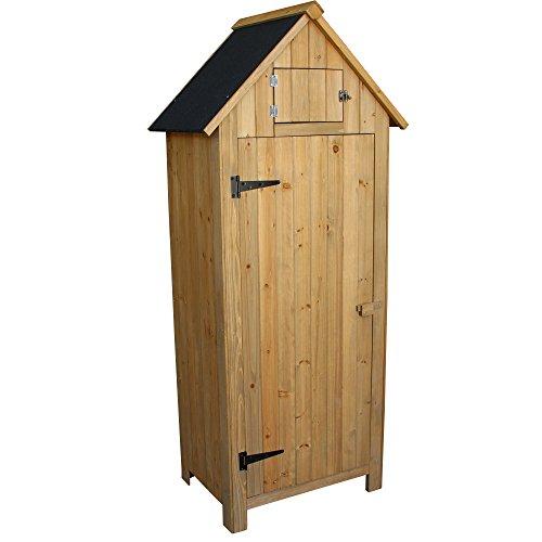 OlymStore-Fir-Wood-Outdoor-Peaked-Roof-Wooden-Storage-Shed-with-FloorSingle-Door-Garden-Cabinet-wShelfBackyard-Tool-House-Utility-Building-0-0