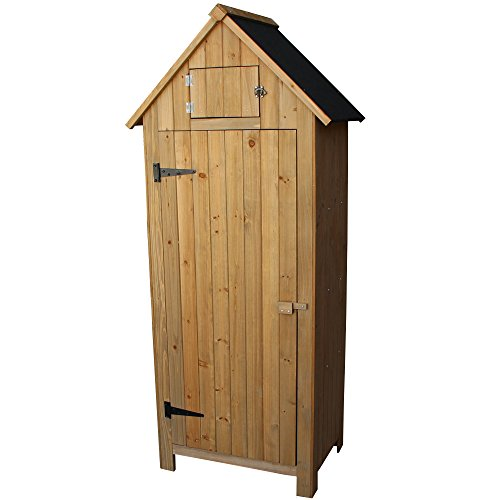 OlymStore-Fir-Wood-Outdoor-Peaked-Roof-Wooden-Storage-Shed-with-FloorSingle-Door-Garden-Cabinet-wShelfBackyard-Tool-House-Utility-Building-0-1