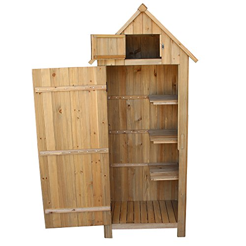 OlymStore-Fir-Wood-Outdoor-Peaked-Roof-Wooden-Storage-Shed-with-FloorSingle-Door-Garden-Cabinet-wShelfBackyard-Tool-House-Utility-Building-0-2