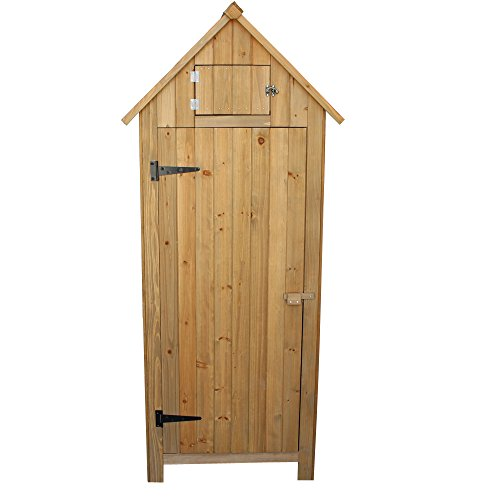 OlymStore-Fir-Wood-Outdoor-Peaked-Roof-Wooden-Storage-Shed-with-FloorSingle-Door-Garden-Cabinet-wShelfBackyard-Tool-House-Utility-Building-0
