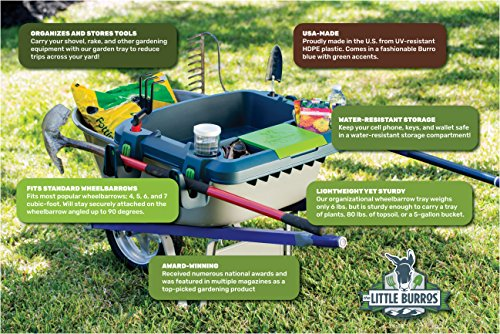 Original-Little-Burro-USA-made-lawngarden-tray-for-all-4-6-cu-ft-wheelbarrows-Holds-rake-shovel-short-handle-tools-drinks-water-tight-storage-for-phone-Wheelbarrow-not-included-Great-gift-0-2