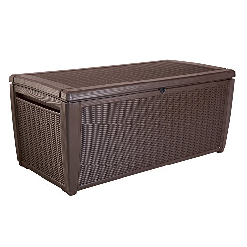 Outdoor-135-Gallon-Rattan-Style-Deck-Storage-Box-2-Seat-Heavy-Duty-Lockable-Lid-Wicker-Like-Texture-Vented-Piston-Lid-Sturdy-and-Long-Lasting-All-Weather-Resin-Plastic-Construction-0-0