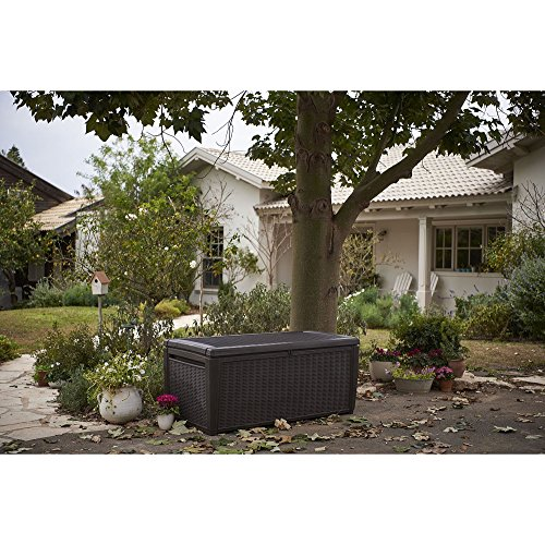 Outdoor-135-Gallon-Rattan-Style-Deck-Storage-Box-2-Seat-Heavy-Duty-Lockable-Lid-Wicker-Like-Texture-Vented-Piston-Lid-Sturdy-and-Long-Lasting-All-Weather-Resin-Plastic-Construction-0-1