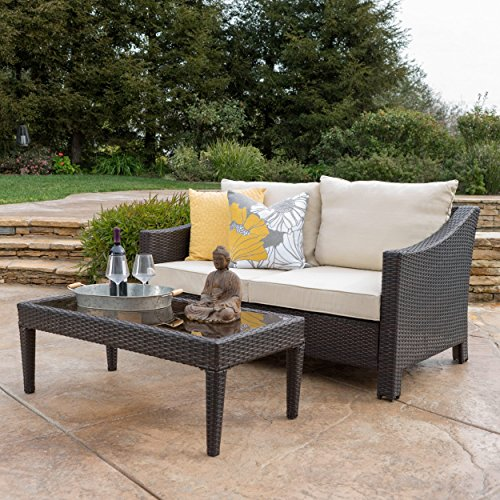 Outdoor-2-piece-Wicker-Sofa-Set-with-Cushions-Includes-1-Loveseat-and-1-Table-Weather-Resistant-Cushions-Stylish-and-Comfortable-Wicker-and-Powder-Coated-Iron-Construction-Multiple-Finishes-0