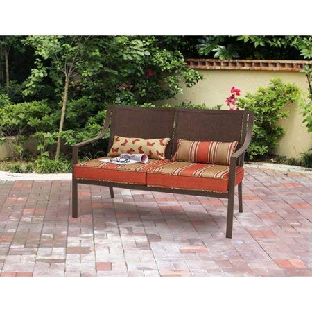 Outdoor-Patio-Loveseat-Bench-Includes-Two-Beautiful-Lumbar-Pillows-Easy-Care-and-Ventilated-Sling-Back-Reversible-Cushions-Durable-100-Percent-Polyester-Fabric-Maintenance-Free-Faux-Wood-Slats-0-0