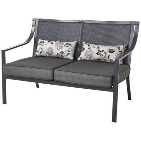 Outdoor-Patio-Loveseat-Bench-Includes-Two-Beautiful-Lumbar-Pillows-Easy-Care-and-Ventilated-Sling-Back-Reversible-Cushions-Durable-100-Percent-Polyester-Fabric-Maintenance-Free-Faux-Wood-Slats-0