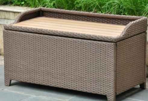 Outdoor-Storage-Bench-Wicker-Resin-Faux-Wood-Top-Antique-Brown-0