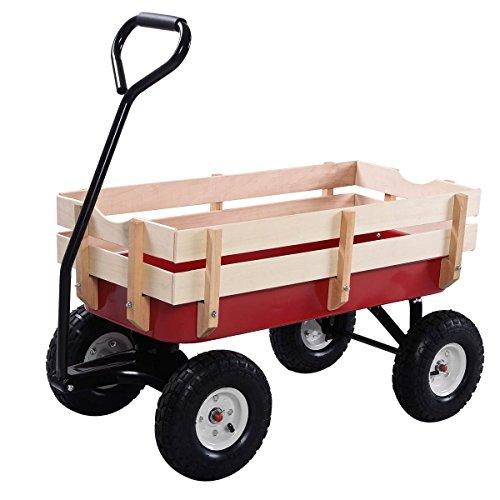 Outdoor-Wagon-ALL-Terrain-Pulling-Children-Kid-Garden-Cart-w-Wood-Railing-Red-0-10