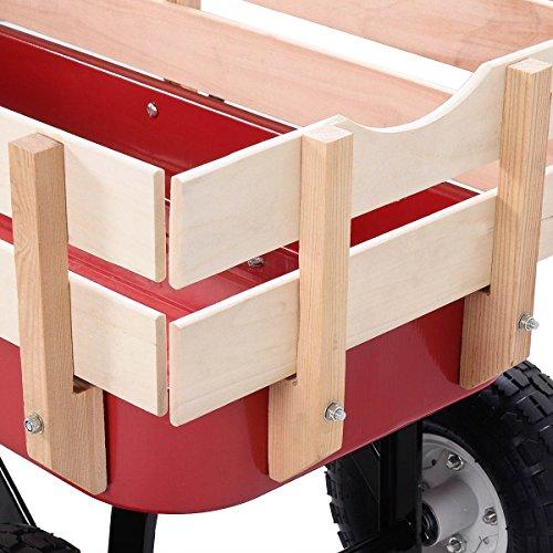 Outdoor-Wagon-ALL-Terrain-Pulling-Children-Kid-Garden-Cart-w-Wood-Railing-Red-0-11