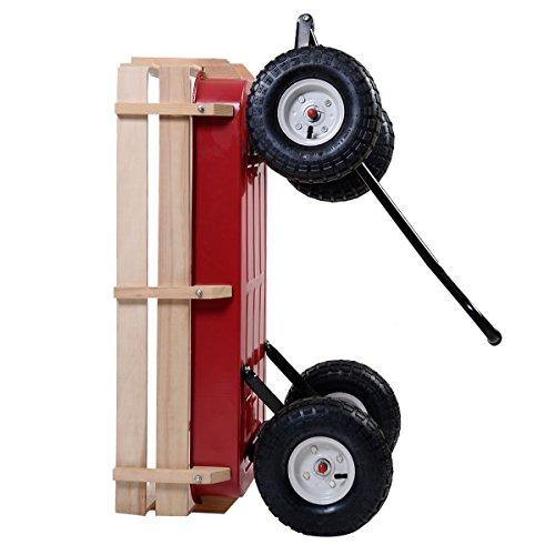 Outdoor-Wagon-ALL-Terrain-Pulling-Children-Kid-Garden-Cart-w-Wood-Railing-Red-0-13