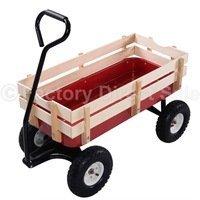 Outdoor-Wagon-ALL-Terrain-Pulling-Children-Kid-Garden-Cart-w-Wood-Railing-Red-0-14