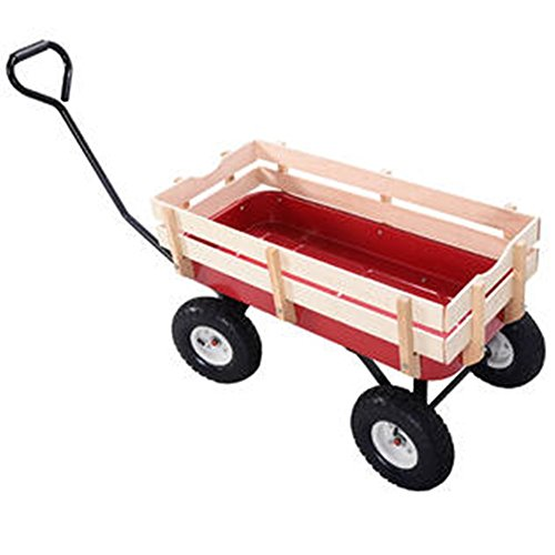 Outdoor-Wagon-ALL-Terrain-Pulling-Children-Kid-Garden-Cart-w-Wood-Railing-Red-0-16