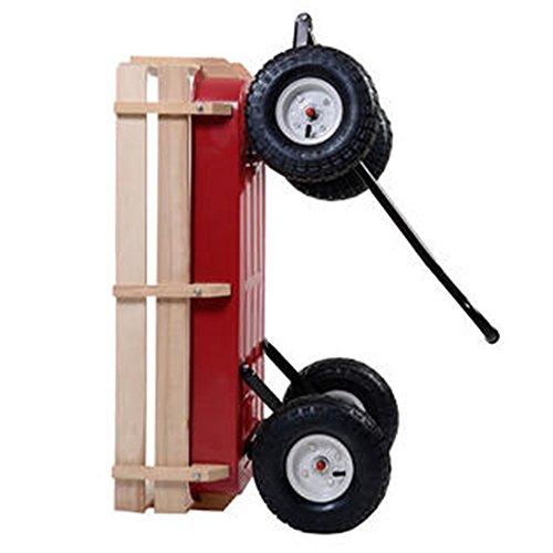 Outdoor-Wagon-ALL-Terrain-Pulling-Children-Kid-Garden-Cart-w-Wood-Railing-Red-0-17