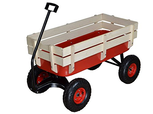 Outdoor-Wagon-ALL-Terrain-Pulling-Children-Kid-Garden-Cart-w-Wood-Railing-Red-0-2