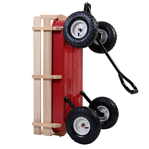 Outdoor-Wagon-ALL-Terrain-Pulling-Children-Kid-Garden-Cart-w-Wood-Railing-Red-0-3