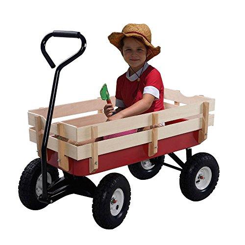 Outdoor-Wagon-ALL-Terrain-Pulling-Children-Kid-Garden-Cart-w-Wood-Railing-Red-0-6