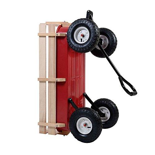 Outdoor-Wagon-ALL-Terrain-Pulling-Children-Kid-Garden-Cart-w-Wood-Railing-Red-0-7