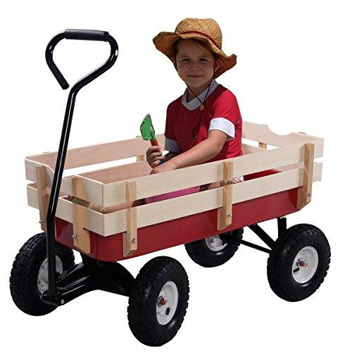 Outdoor-Wagon-ALL-Terrain-Pulling-Children-Kid-Garden-Cart-w-Wood-Railing-Red-0