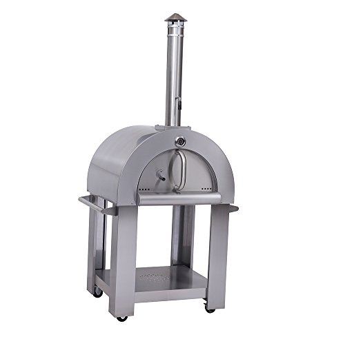 Outdoor-Wood-Fried-Pizza-Oven-Stainless-Steel-Cooking-Area-517ft-Sliver-With-Wheels-0-0
