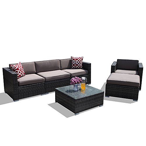 PATIOROMA-Outdoor-Patio-Furniture-Sectional-Sofa-Set-6-Piece-Set-All-Weather-Drak-Grey-Wicker-with-Light-Brown-Cushions-Single-Wicker-ChairGlass-Coffee-Table-Patio-Backyard-Pool-0