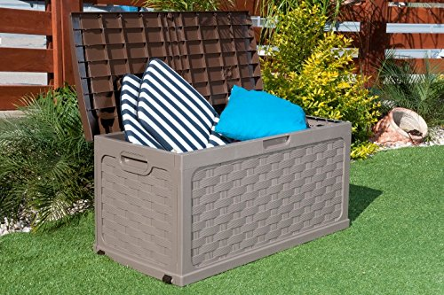 Plastic-Garden-Storage-Box-with-Sit-on-Lid-Cushion-Box-Outdoor-Storage-Wicker-Deck-Box-Rattan-Design-Color-Brown-0