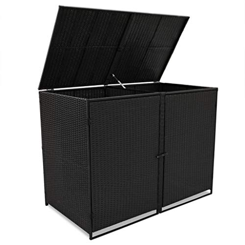Poly-Rattan-Double-Wheelie-Bin-Shed-Shelter-Hider-Cover-Black-0-1