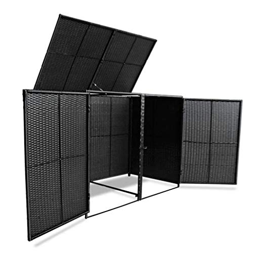 Poly-Rattan-Double-Wheelie-Bin-Shed-Shelter-Hider-Cover-Black-0-2