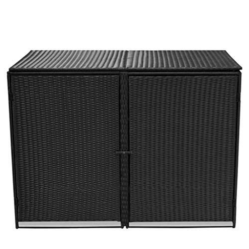 Poly-Rattan-Double-Wheelie-Bin-Shed-Shelter-Hider-Cover-Black-0