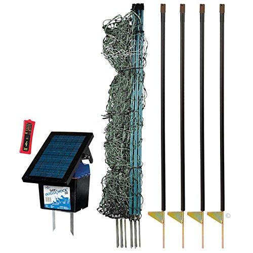 Premier-42-PoultryNet-Plus-Starter-Kit-Includes-Green-PoultryNet-Plus-Net-Fence-42-H-x-100-L-Double-Spiked-Solar-Fence-Energizer-FiberTuff-Support-Posts-Fence-Tester-0