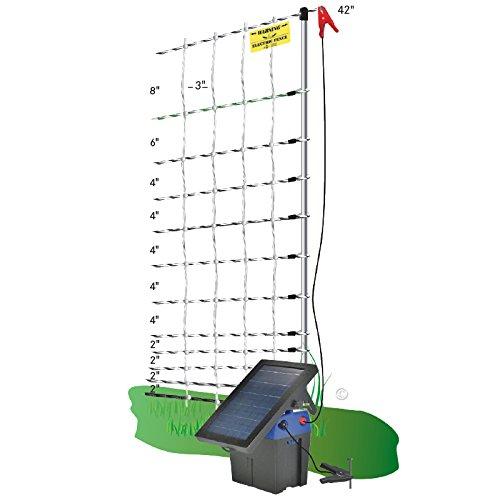 Premier-42-PoultryNet-Plus-Starter-Kit-Includes-White-PoultryNet-Plus-Net-Fence-42-H-x-100-L-Double-Spiked-Solar-Fence-Energizer-FiberTuff-Support-Posts-Fence-Tester-0-0