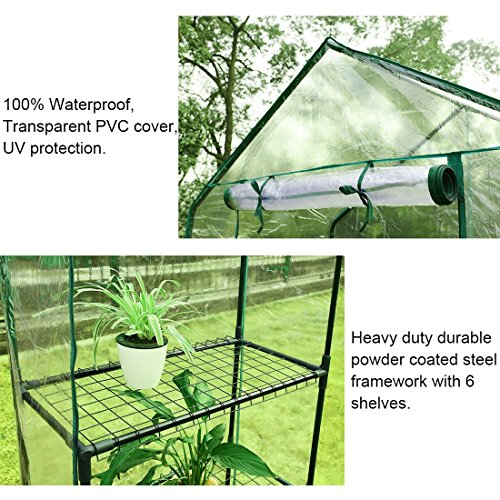 Quictent-Greenhouse-Mini-Walk-in-3-Tiers-6-Shelves-102lbs-Max-Weight-Capacity-Portable-Plant-Garden-Outdoor-Green-House-56x29x77-0-0