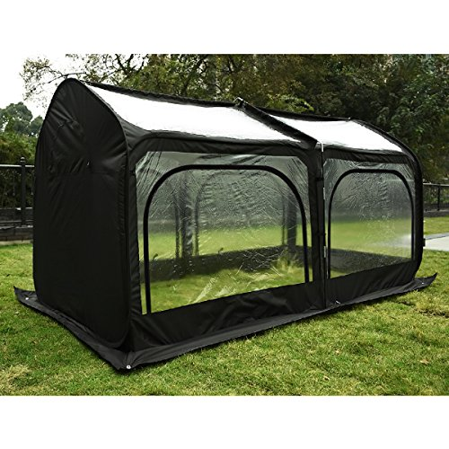 Quictent-Pop-up-Greenhouse-Fiberglass-Poles-Updated-Extra-Thick-Cover-Outdoor-Garden-Flower-Mini-Green-House-4-Doors-2-Vents-98x49x53-Black-0