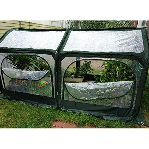 Quictent-Pop-up-Greenhouse-Fiberglass-Poles-Updated-Extra-Thick-Cover-Outdoor-Garden-Flower-Mini-Green-House-4-Doors-2-Vents-98x49x53-Green-0-2
