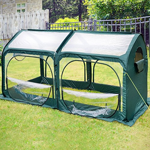 Quictent-Pop-up-Greenhouse-Fiberglass-Poles-Updated-Extra-Thick-Cover-Outdoor-Garden-Flower-Mini-Green-House-4-Doors-2-Vents-98x49x53-Green-0
