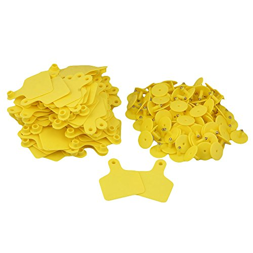 RDEXP-Yelllow-60x74mm-Plastic-Large-Livestock-Ear-Tag-Cow-Cattle-Tag-Marker-Label-without-Number-Set-of-100-0