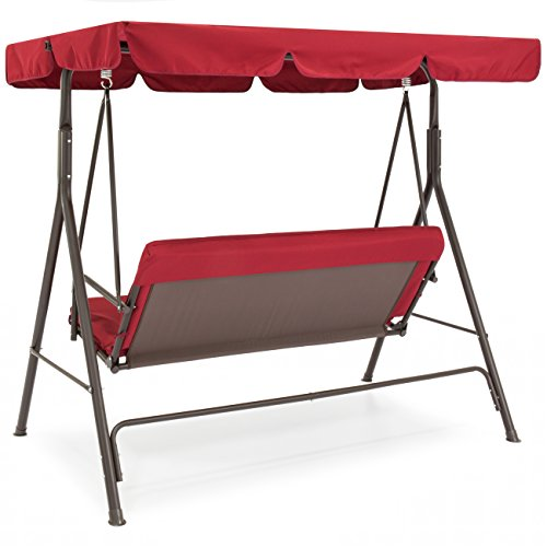 Red-2-Persons-Outdoor-Canopy-Swing-Bench-Glider-Hammock-Patio-Yard-Backyard-Lawn-Deck-Garden-Porch-Pool-Side-Furniture-Decoration-Polyester-And-Durable-Steel-Frame-Great-Piece-For-Summer-Relaxation-0-0